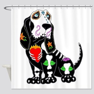 Basset Hound Sugar Skull Shower Curtain