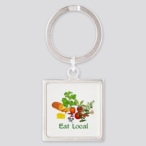 Eat Local Square Keychain