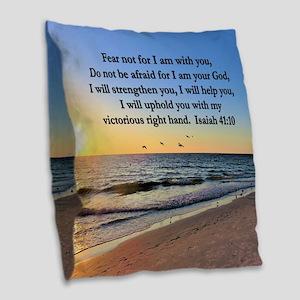 ISAIAH 41:10 VERSE Burlap Throw Pillow