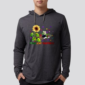 Peace Love Vegetables Mens Hooded Shirt