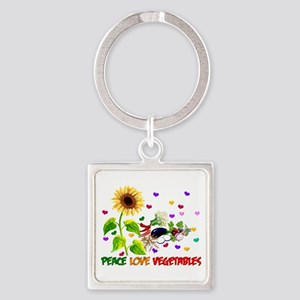 Peace Love Vegetables Square Keychain