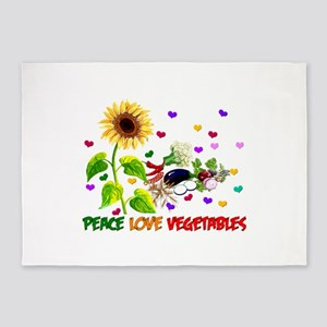 Peace Love Vegetables 5'x7'Area Rug