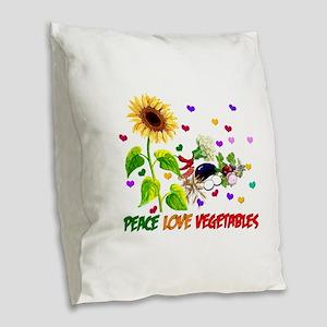 Peace Love Vegetables Burlap Throw Pillow