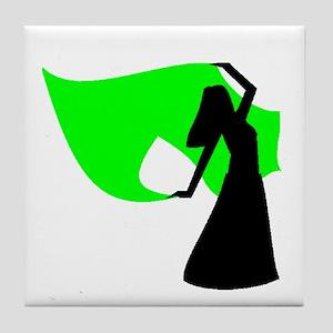 Lime Green Veil Dancer Tile Coaster