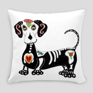 Dachshund Sugar Skull Everyday Pillow
