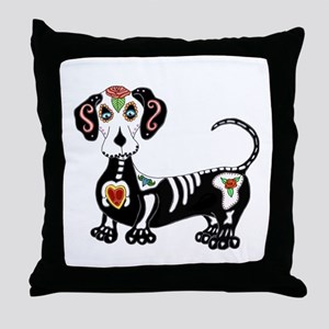 Dachshund Sugar Skull Throw Pillow