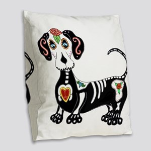 Dachshund Sugar Skull Burlap Throw Pillow