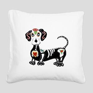 Dachshund Sugar Skull Square Canvas Pillow