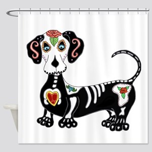 Dachshund Sugar Skull Shower Curtain