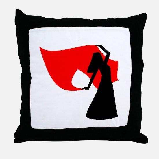 Red Veil Dancer Throw Pillow