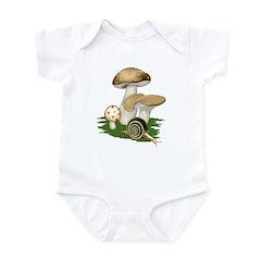 Snail in Mushroom Garden Infant Bodysuit