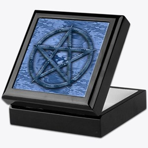 Crystal Blue Water Pentagram Keepsake Box