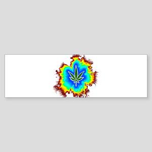 Psychedelic Marijuana Leaf Bumper Sticker