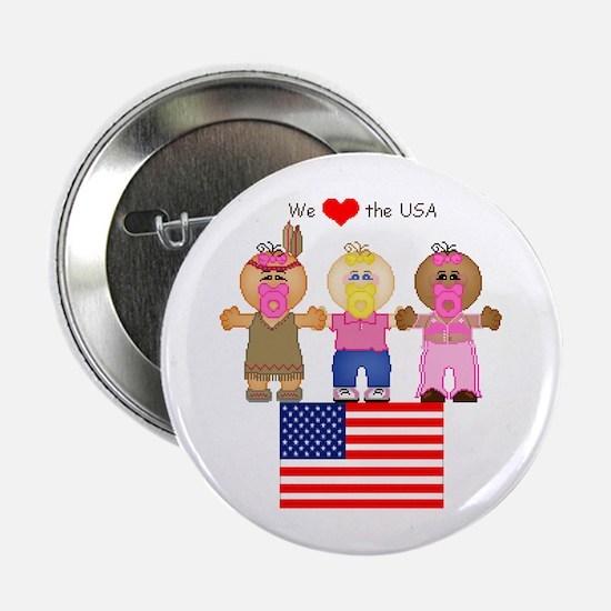 I Love USA Button