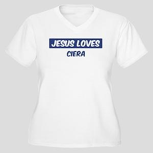 Jesus Loves Ciera Women's Plus Size V-Neck T-Shirt