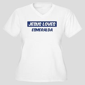 Jesus Loves Esmeralda Women's Plus Size V-Neck T-S