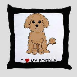 Apricot Poodle Throw Pillow