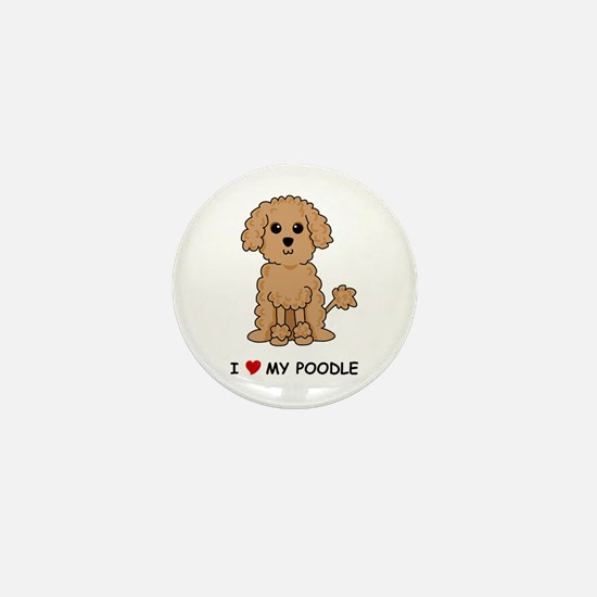 Apricot Poodle Mini Button