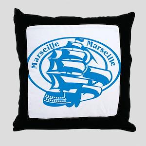 Marseille Passport Stamp Throw Pillow