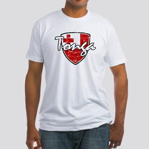 Tongan distressed flag Fitted T-Shirt