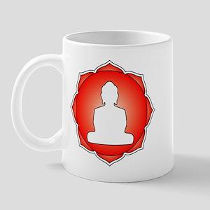 Red Lotus Buddha Mug