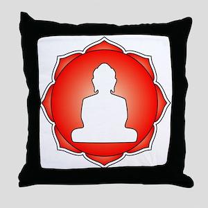 Red Lotus Buddha Throw Pillow