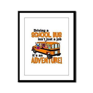 Driving a School Bus Framed Panel Print