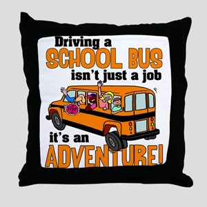 Driving a School Bus Throw Pillow
