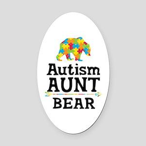 Autism Aunt Bear Oval Car Magnet