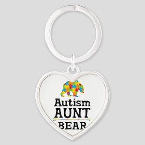 Autism Aunt Bear Heart Keychain