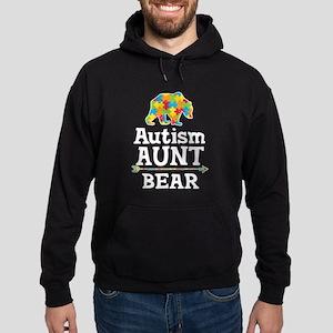 Autism Aunt Bear Hoodie (dark)