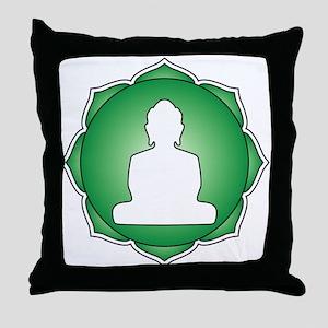 Green Lotus Buddha Throw Pillow
