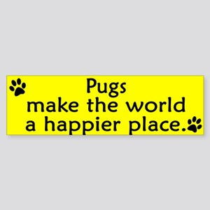 Happy Place Pug Bumper Sticker