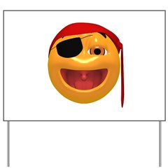 Laughing Pirate Face Yard Sign