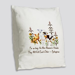 Pythagoras Vegetarian Quote Burlap Throw Pillow
