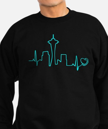 Seattle Heartbeat (Heart) AQUA Sweatshirt