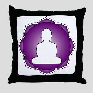 Purple Lotus Buddha Throw Pillow