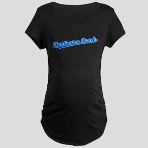Retro Huntington B.. (Blue) Maternity Dark T-Shirt