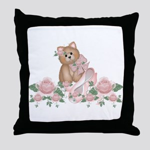Everything's Rosy Kitty Cat Throw Pillow