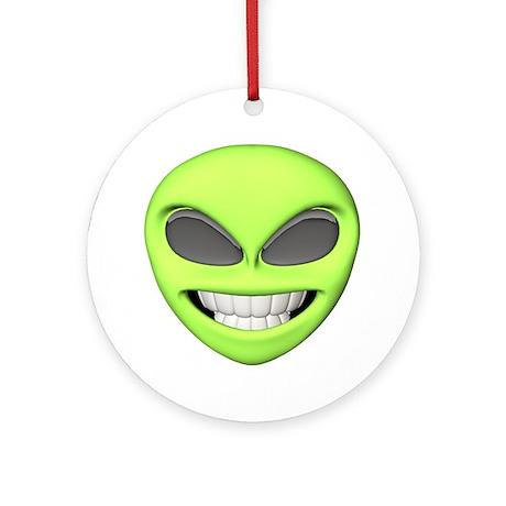 Cheesy Smile Alien Face Ornament (Round)