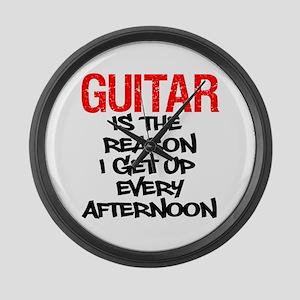 Guitar Reason I Get Up Large Wall Clock