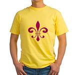 Fleur De Lis Purple Yellow T-Shirt