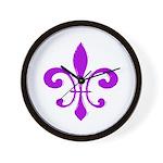 Fleur De Lis Purple Wall Clock