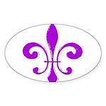 Fleur De Lis Purple Oval Sticker