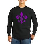 Fleur De Lis Purple Long Sleeve Dark T-Shirt