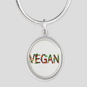 Vegan Vegetables Silver Oval Necklace