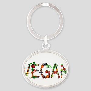 Vegan Vegetables Oval Keychain