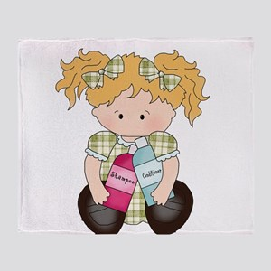 Girl Needed to Wash Hair Throw Blanket