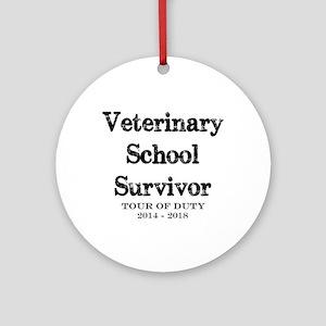 Vet School Survivor 2018 Round Ornament