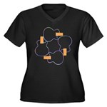 Square Tone Women's Plus Size V-Neck Dark T-Shirt